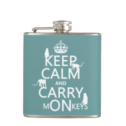Vinyl Wrapped Flask, 6 oz. with Keep Calm and Carry Monkeys design