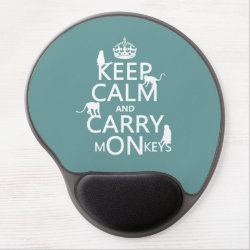 Gel Mousepad with Keep Calm and Carry Monkeys design