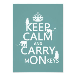 5.5' x 7.5' Invitation / Flat Card with Keep Calm and Carry Monkeys design