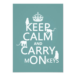 Keep Calm and Carry mONkeys - all colors 5.5x7.5 Paper Invitation Card