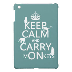 Case Savvy iPad Mini Glossy Finish Case with Keep Calm and Carry Monkeys design