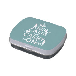 Rectangle Jelly Belly™ Candy Tin with Keep Calm and Carry Monkeys design
