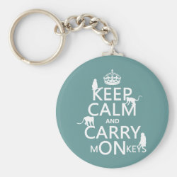 Basic Button Keychain with Keep Calm and Carry Monkeys design