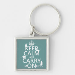 Premium Square Keychain with Keep Calm and Carry Monkeys design
