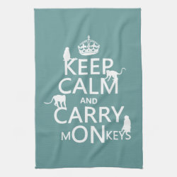 Kitchen Towel 16' x 24' with Keep Calm and Carry Monkeys design
