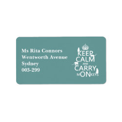 Address Label with Keep Calm and Carry Monkeys design