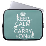 Keep Calm and Carry mONkeys - all colors Laptop Computer Sleeve