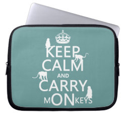 Neoprene Laptop Sleeve 10 inch with Keep Calm and Carry Monkeys design