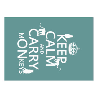 Keep Calm and Carry mONkeys - all colors Large Business Card