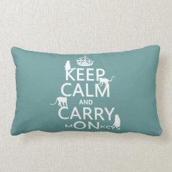 Throw Pillow Lumbar 13' x 21' with Keep Calm and Carry Monkeys design