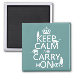 Square Magnet with Keep Calm and Carry Monkeys design