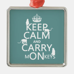 Premium Square Ornament with Keep Calm and Carry Monkeys design