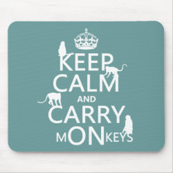 Mousepad with Keep Calm and Carry Monkeys design