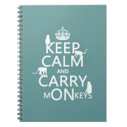 Photo Notebook (6.5' x 8.75', 80 Pages B&W) with Keep Calm and Carry Monkeys design