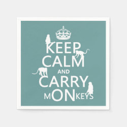 Paper Napkins with Keep Calm and Carry Monkeys design