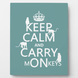 Photo Plaque 8' x 10' with Easel with Keep Calm and Carry Monkeys design