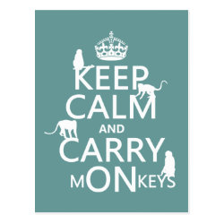 Postcard with Keep Calm and Carry Monkeys design