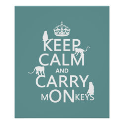 Matte Poster with Keep Calm and Carry Monkeys design
