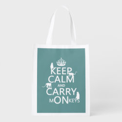 Reusable Grocery Bag with Keep Calm and Carry Monkeys design