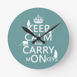Medium Round Wall Clock with Keep Calm and Carry Monkeys design