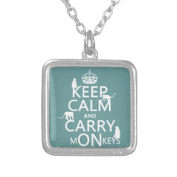 Small Necklace with Keep Calm and Carry Monkeys design