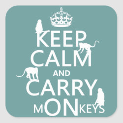 Square Sticker with Keep Calm and Carry Monkeys design