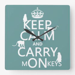 Square Wall Clock with Keep Calm and Carry Monkeys design