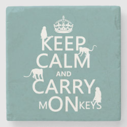 Marble Coaster with Keep Calm and Carry Monkeys design