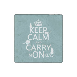 Marble Magnet with Keep Calm and Carry Monkeys design