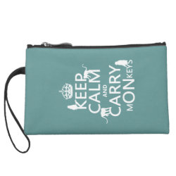 Sueded Mini Clutch with Keep Calm and Carry Monkeys design