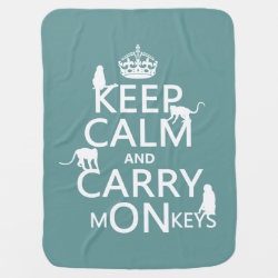 Baby Blanket with Keep Calm and Carry Monkeys design