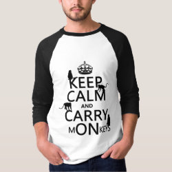 Men's Basic 3/4 Sleeve Raglan T-Shirt with Keep Calm and Carry Monkeys design