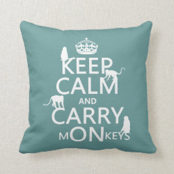 Cotton Throw Pillow with Keep Calm and Carry Monkeys design