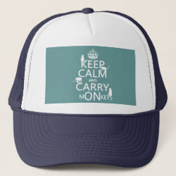 Trucker Hat with Keep Calm and Carry Monkeys design