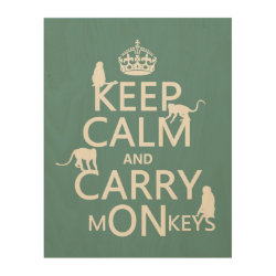 11'x14' Wood Canvas with Keep Calm and Carry Monkeys design