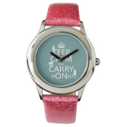 Kid's Pink Glitter Strap Watch with Keep Calm and Carry Monkeys design