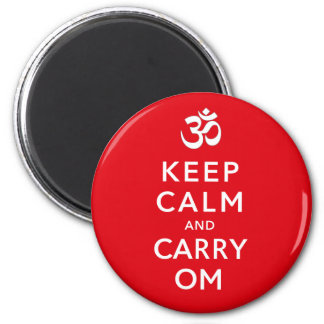 Keep Calm and Carry Om Motivational Morale 2 Inch Round Magnet