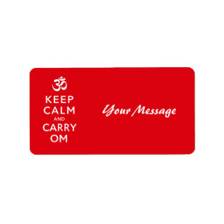 Keep Calm and Carry Om Motivational Morale Label at Zazzle