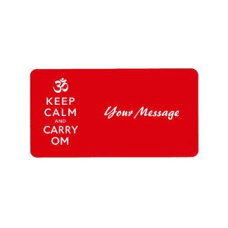Keep Calm and Carry Om Motivational Morale Custom Address Label