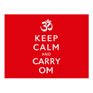 Keep Calm and Carry Om Motivational Morale Postcard