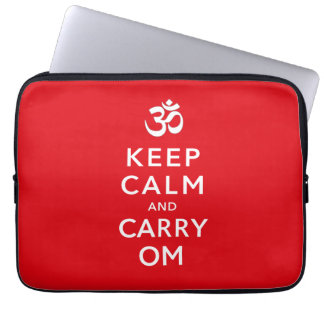 Keep Calm and Carry Om Motivational Neoprene Laptop Computer Sleeves