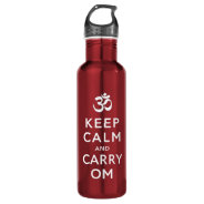 Keep Calm and Carry Om Red Motivational Bottle 24oz Water Bottle at Zazzle