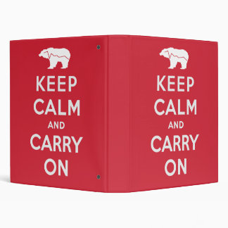 Keep Calm And Carry On 3 Ring Binder