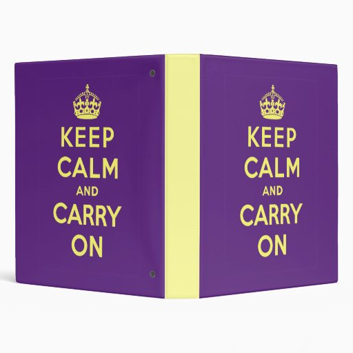 Keep Calm And Carry On 3 Ring Binders