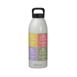 Keep Calm and Carry On 4 Panel Collage Water Bottle