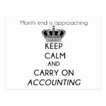 Keep Calm and Carry On Accounting Postcard