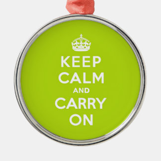 Keep Calm and Carry On Apple Green Metal Ornament