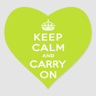 Keep Calm and Carry On Apple Green Heart Stickers