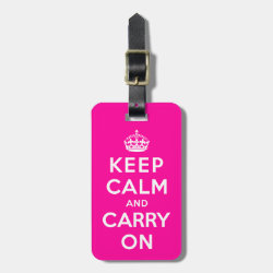 Small Luggage Tag with leather strap with Keep Calm and Carry On (Magenta) design