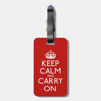 Keep Calm And Carry On Bag Tag